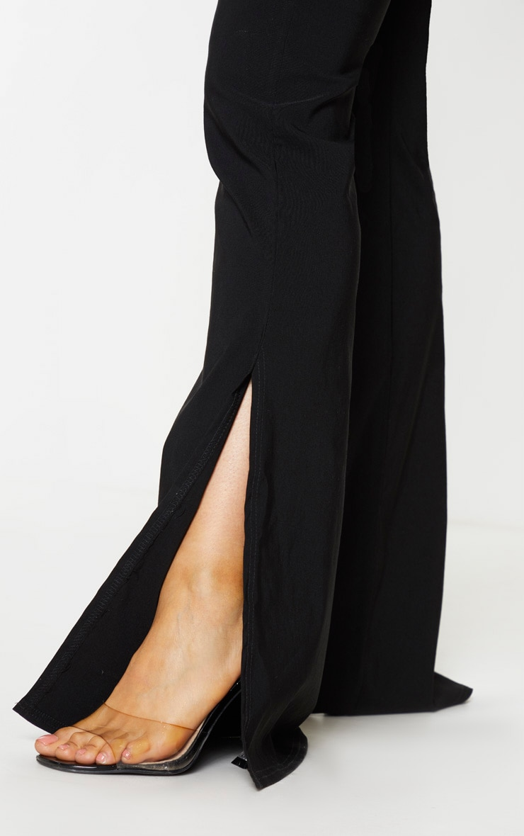 Tall Black Split Hem Fitted Flared Pants 4