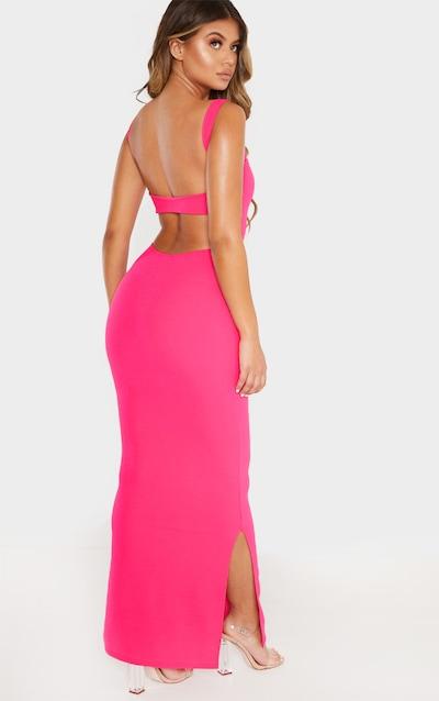 48d54d9965cd Robe longue rose vif ouverte au dos à encolure carrée