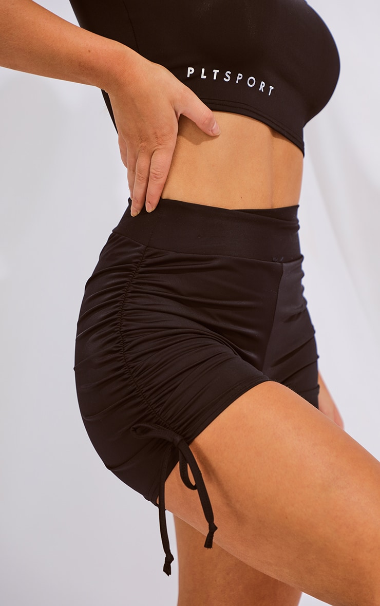 Black Ruched Side Booty Short 5
