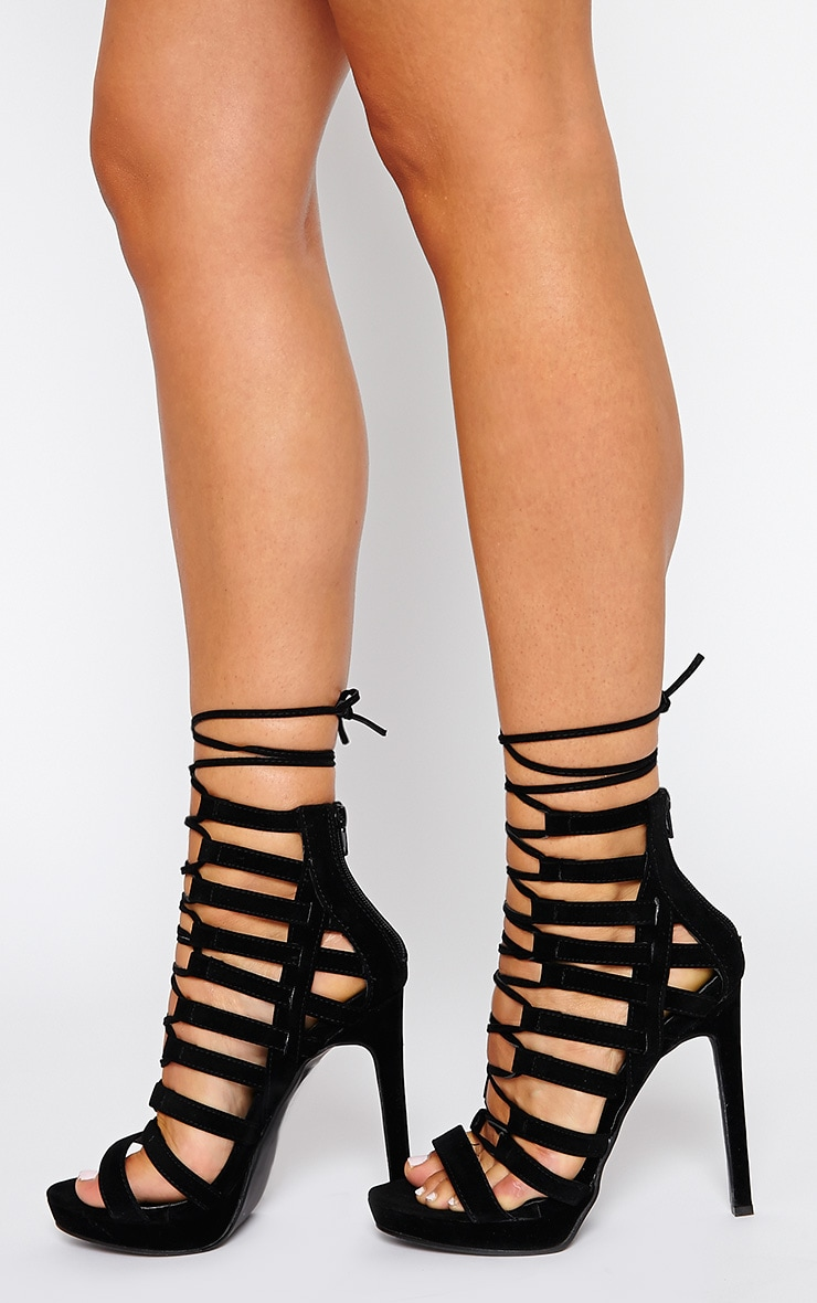 Adria Black Suede Strappy Platform Heels 2