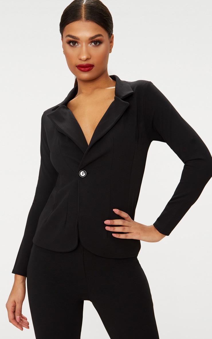 Black Button Detail Longline Blazer 1