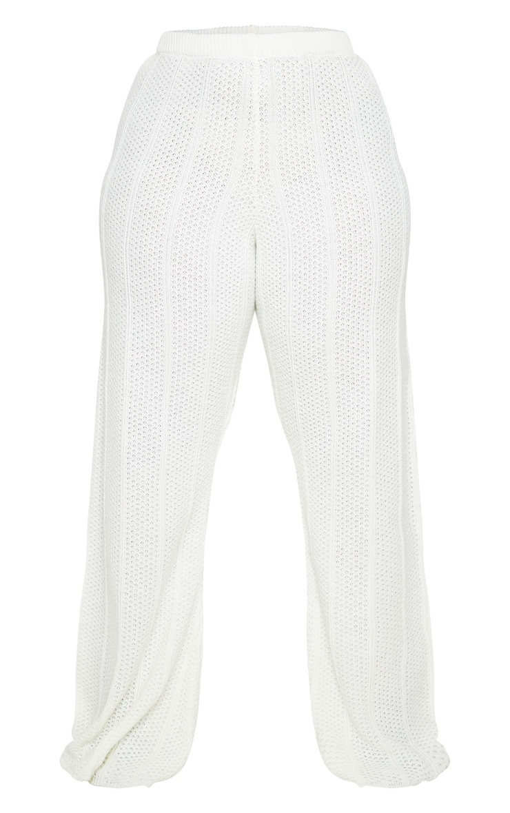 Plus Cream Knit Wide Leg Pants 5