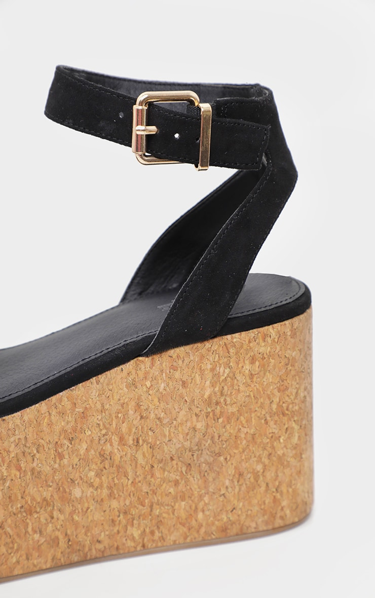 Black Double Flatform Cork Sandal  4