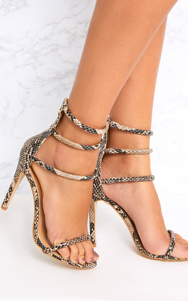 Nadine Nude Snake Print Strappy Heeled Sandals 1