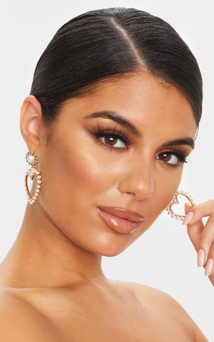 Gold Heart White Pearl Drop Earrings 1