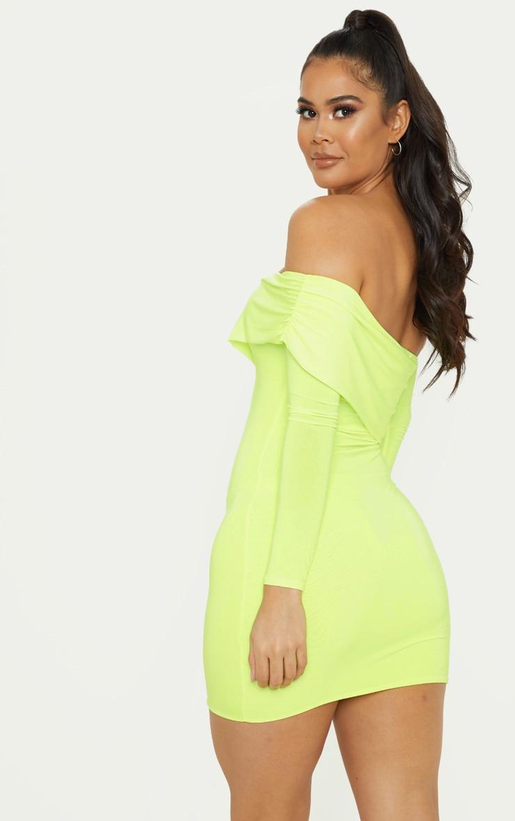 Neon Lime Slinky Fold Over Bodycon Dress 2