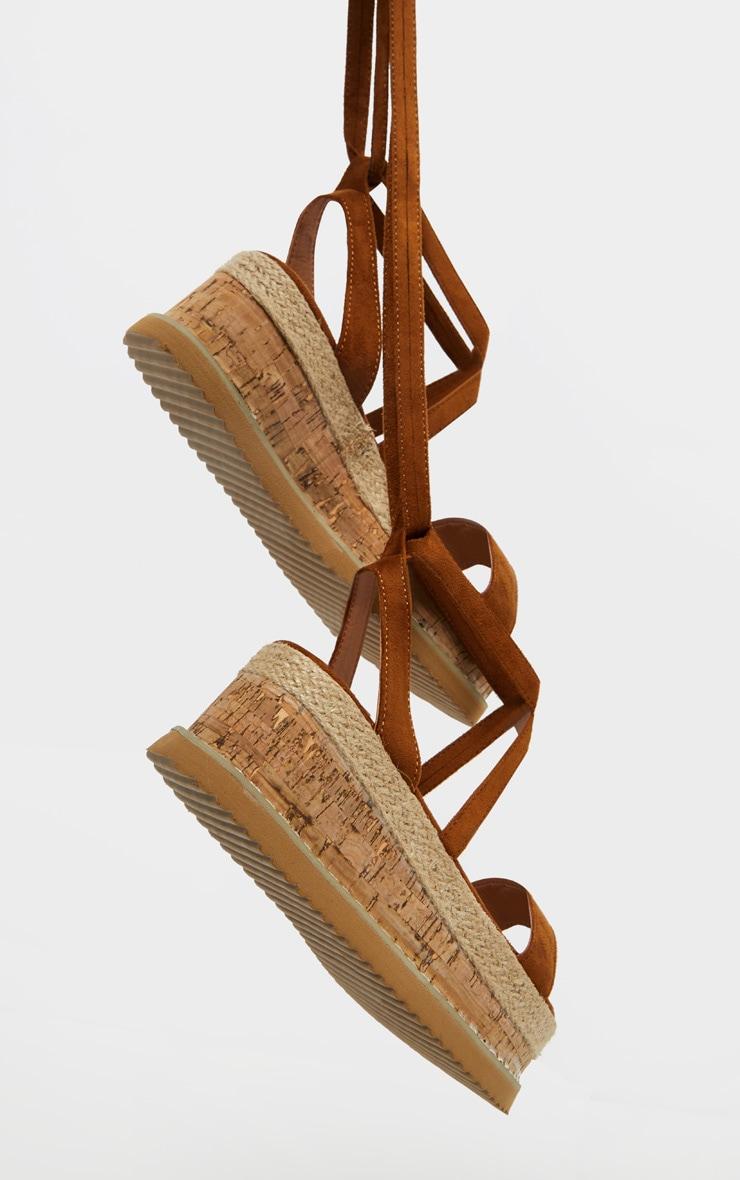 Tan Niella Espadrille Flatform Sandals 4