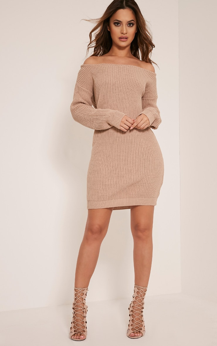 Larissa Stone Off The Shoulder Knitted Dress 1