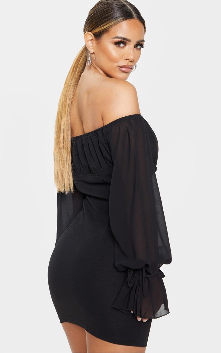 Petite Black Chiffon Sleeve Hook and Eye Bodycon Dress 2