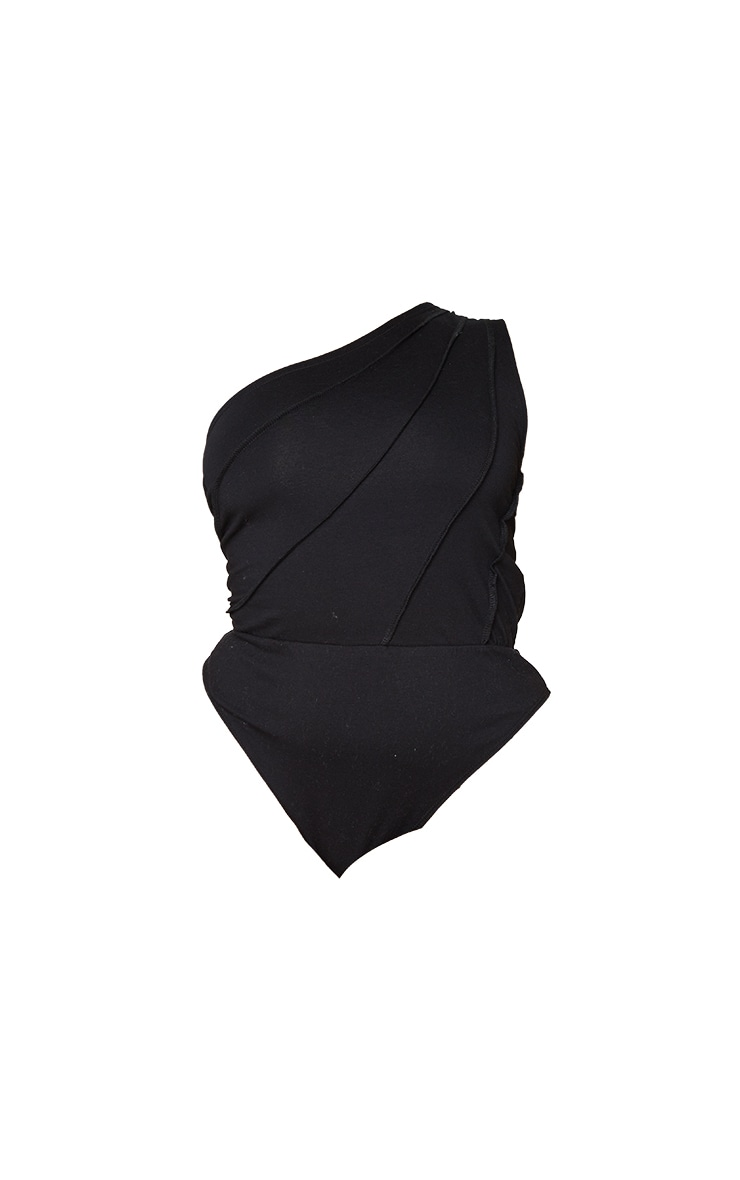 Plus Black One Shoulder Stitch Detail Bodysuit 5