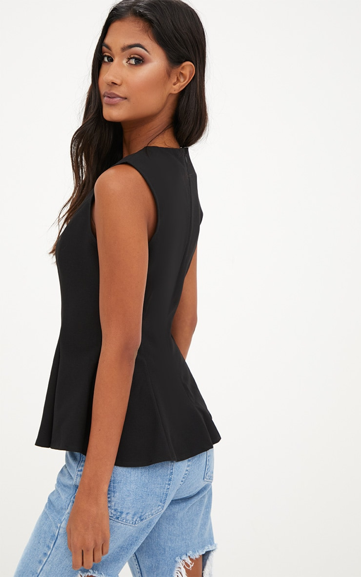 Black Sleeveless Peplum Hem Woven Top 2