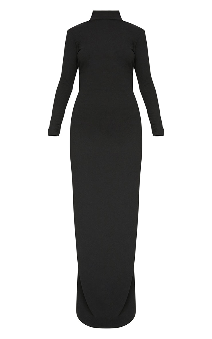 Black Mesh Cut Out Back Detail Maxi Dress 3