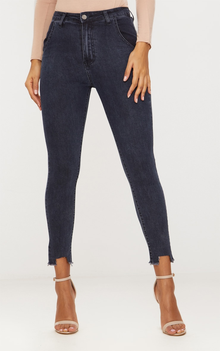 Washed Indigo Diagonal Pocket Cut Hem Skinny Jean 2