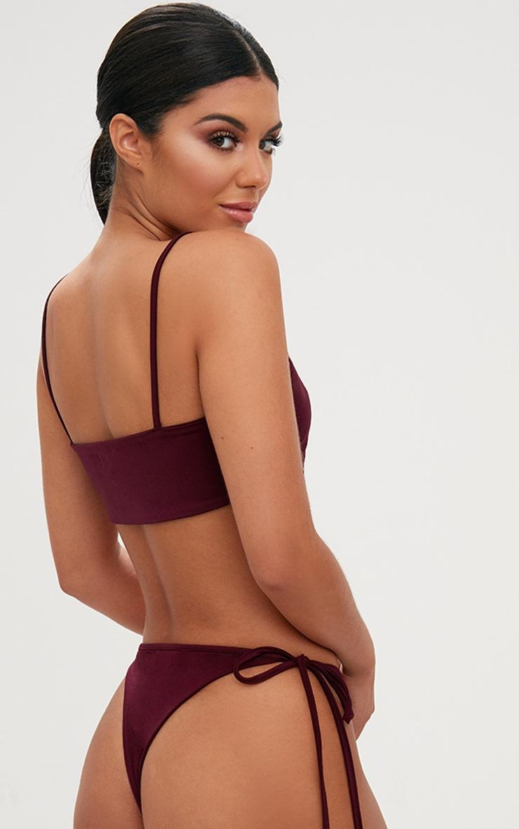 burgundy skinny strap bikini top 2