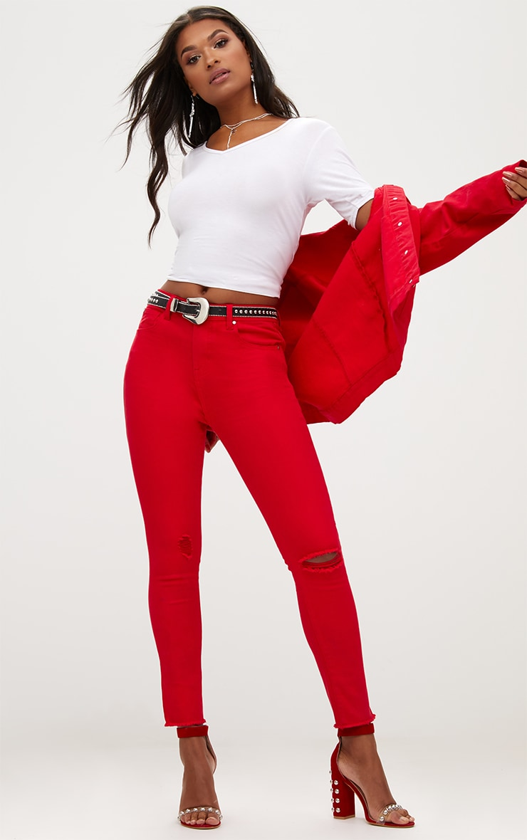 Red Rip Knee Skinny Jean 1