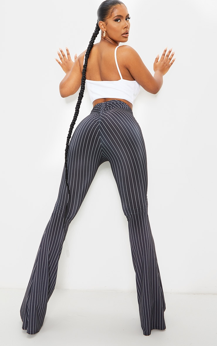 Black Pinstripe Ruched Bum Slinky Flared Trousers 1