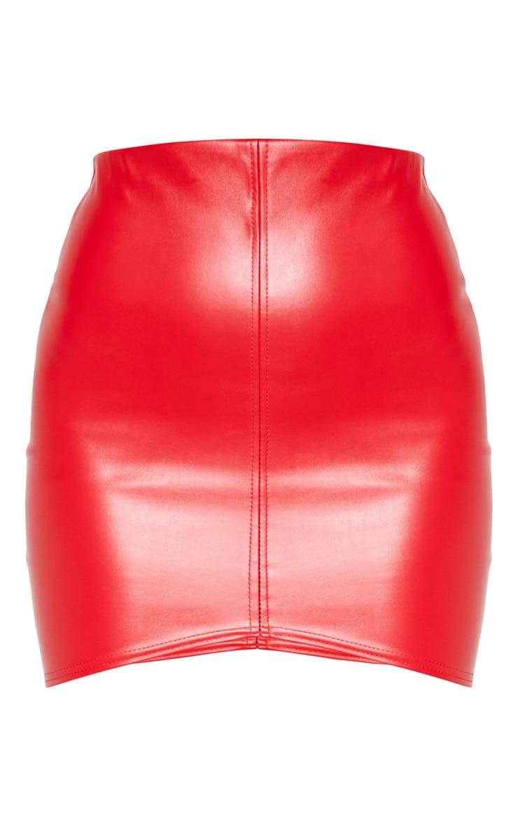 Bekka minijupe rouge imitation cuir à bande asymétrique 3