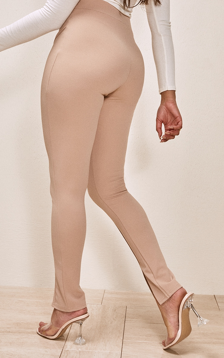 Taupe Binding Detail Split Hem Skinny Trousers 3