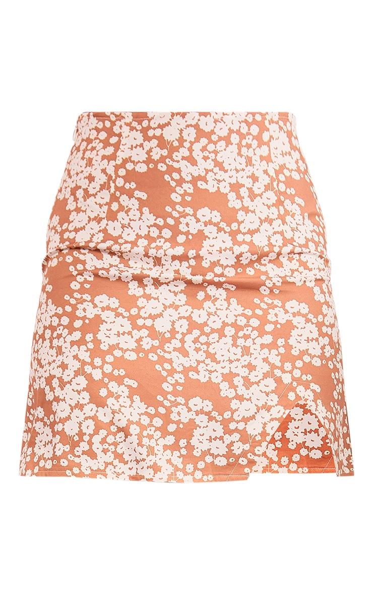 Orange Floral Printed Woven Split Hem A Line Mini Skirt 6