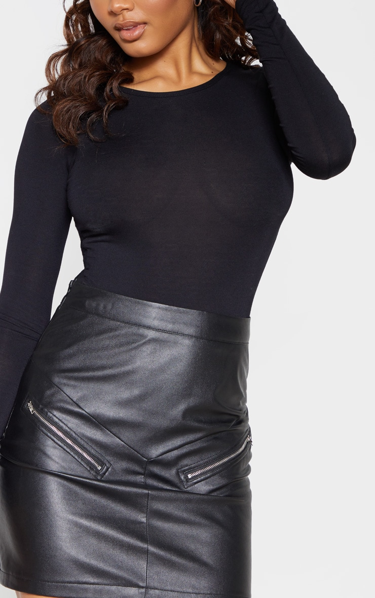 Tall Black Slinky Long Sleeve Bodysuit 6