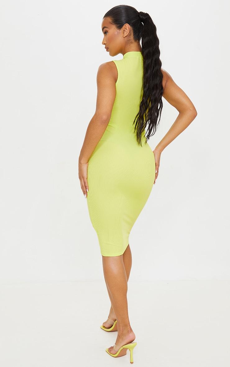 Robe mi-longue vert citron côtelée sans manches à col haut 2