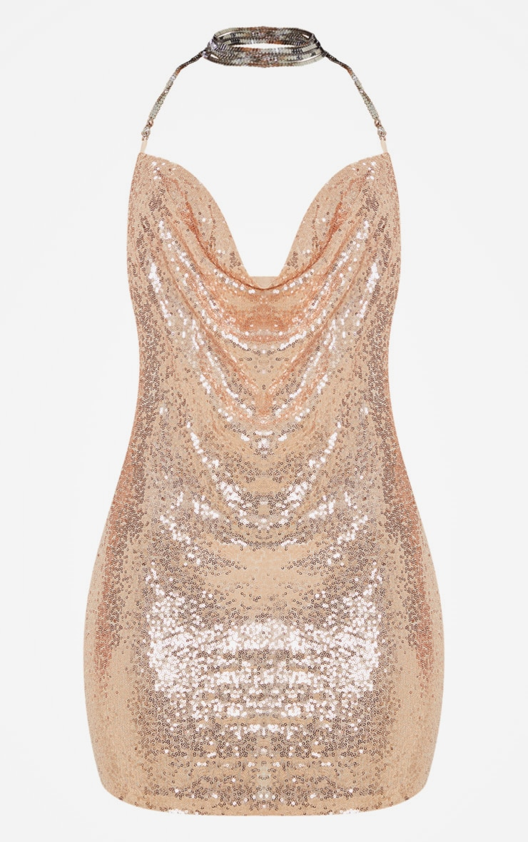 Rose Gold Sequin Chain Choker Mini Dress 3