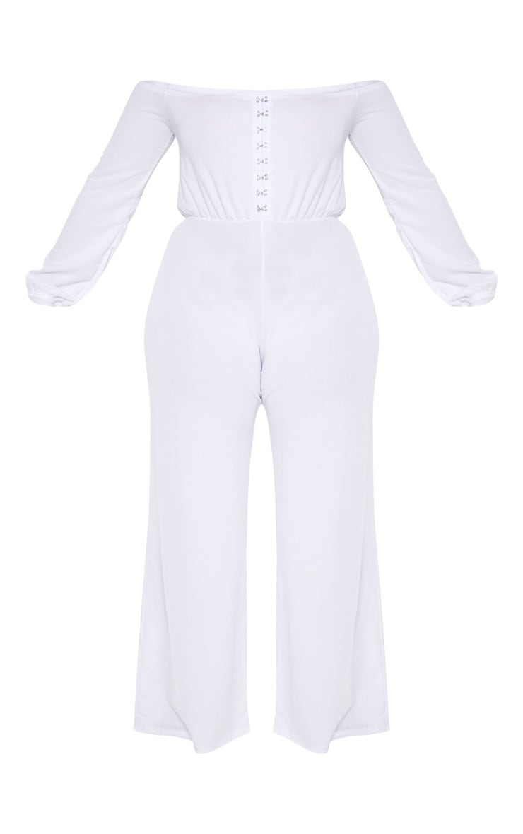 Plus White Eyelet Detail Wide Leg Jumpsuit  3