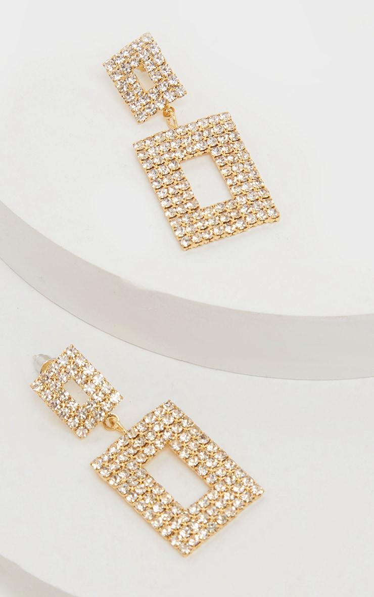 Boucles d'oreilles pendantes dorées strassées XXL  2
