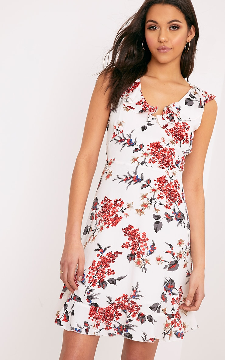 Astrid White Floral Printed Midi Dress 1