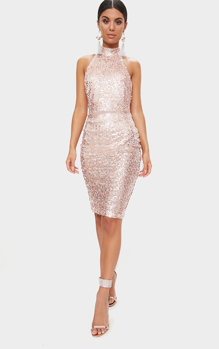 Rose Gold Sequin High Neck Midi Dress 4