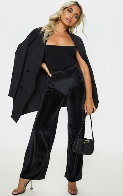 Petite Black Wide Leg Ribbed Velvet Trouser