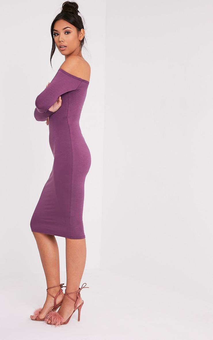 Basic robe midi bardot en jersey aubergine 3