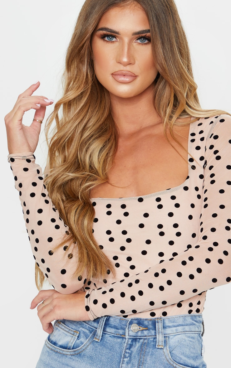 Stone Polka Dot Mesh Square Neck Bodysuit 5