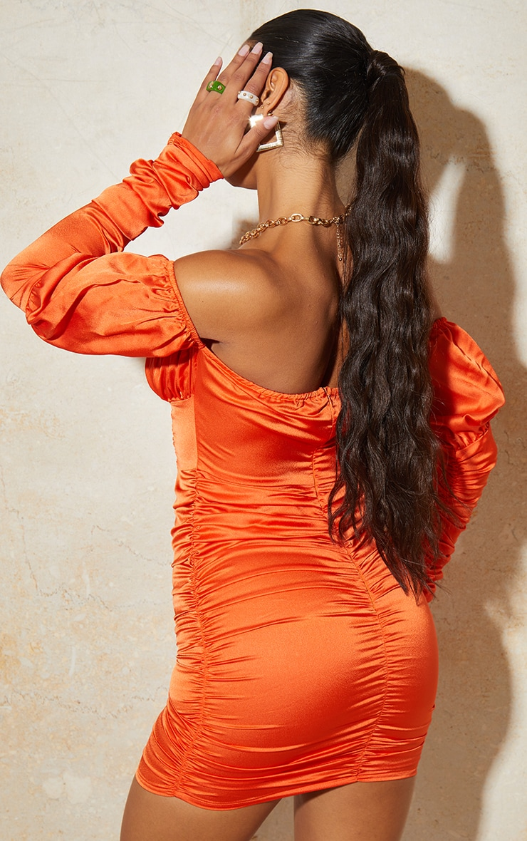 Orange Satin Tie Front Ruched Sleeve Bodycon Dress 2