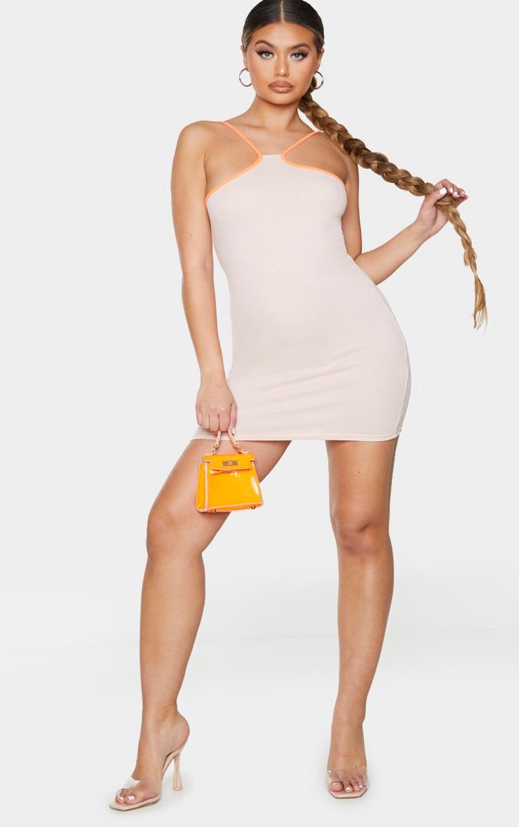 Orange Contrast Binding Rib Strappy Bodycon Dress 3
