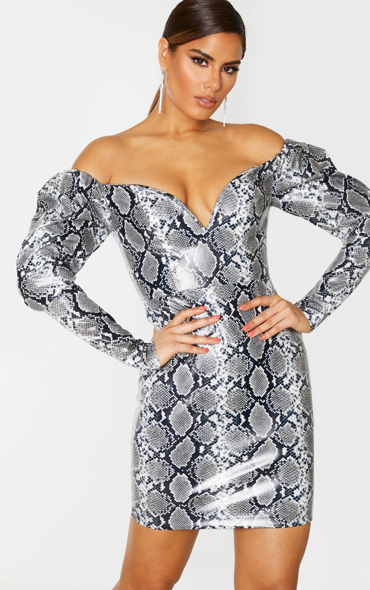 Tall Grey PU Snake Print Plunge Long Sleeve Mini Dress 5