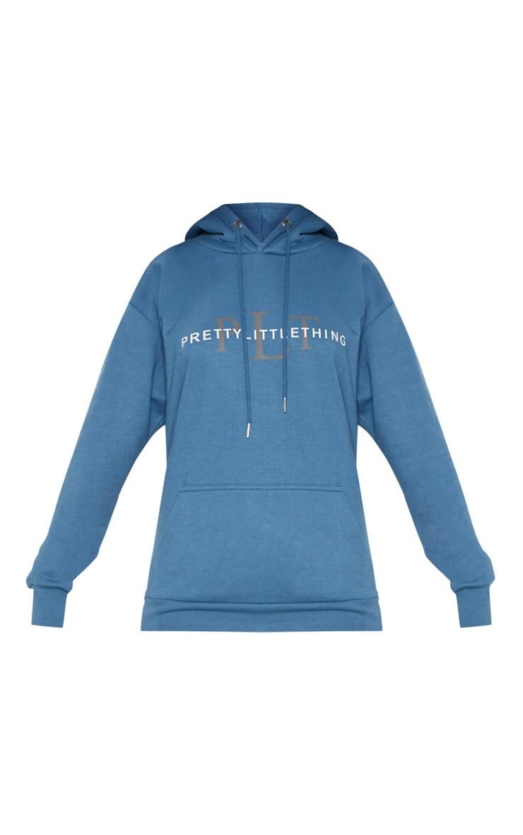 Hoodie oversize bleu cendré imprimé PRETTYLITTLETHING 3