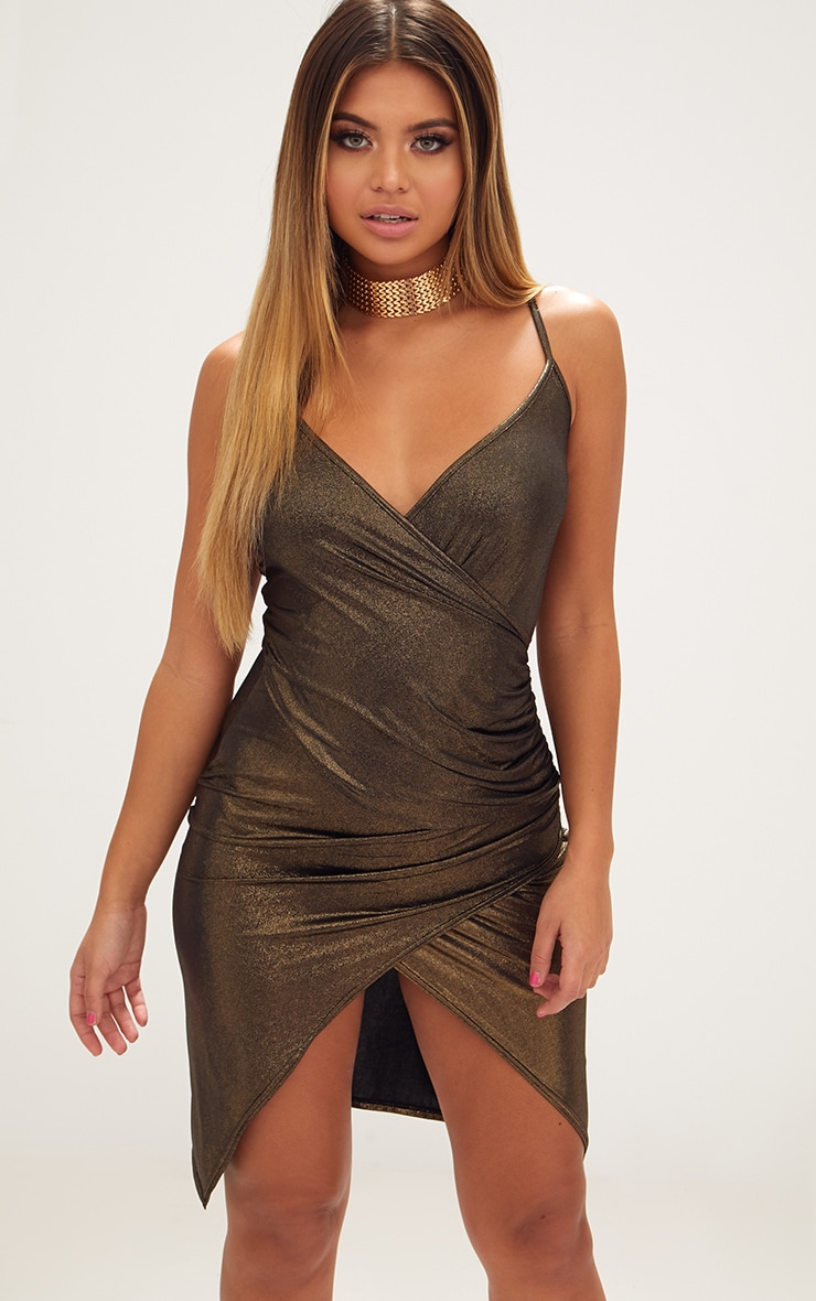 Gold Drape Front Ruched Wrap Over Midi Dress  1