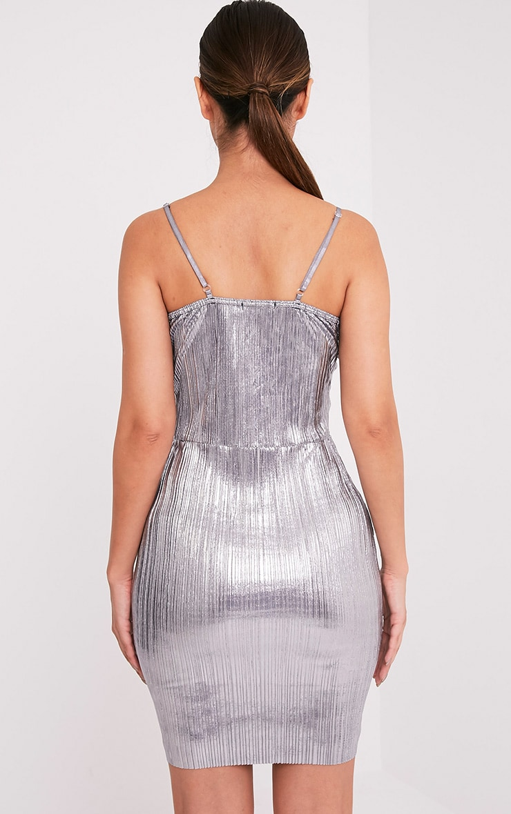 Kalissa Silver Pleated Ruffle Detail Bodycon Dress 2