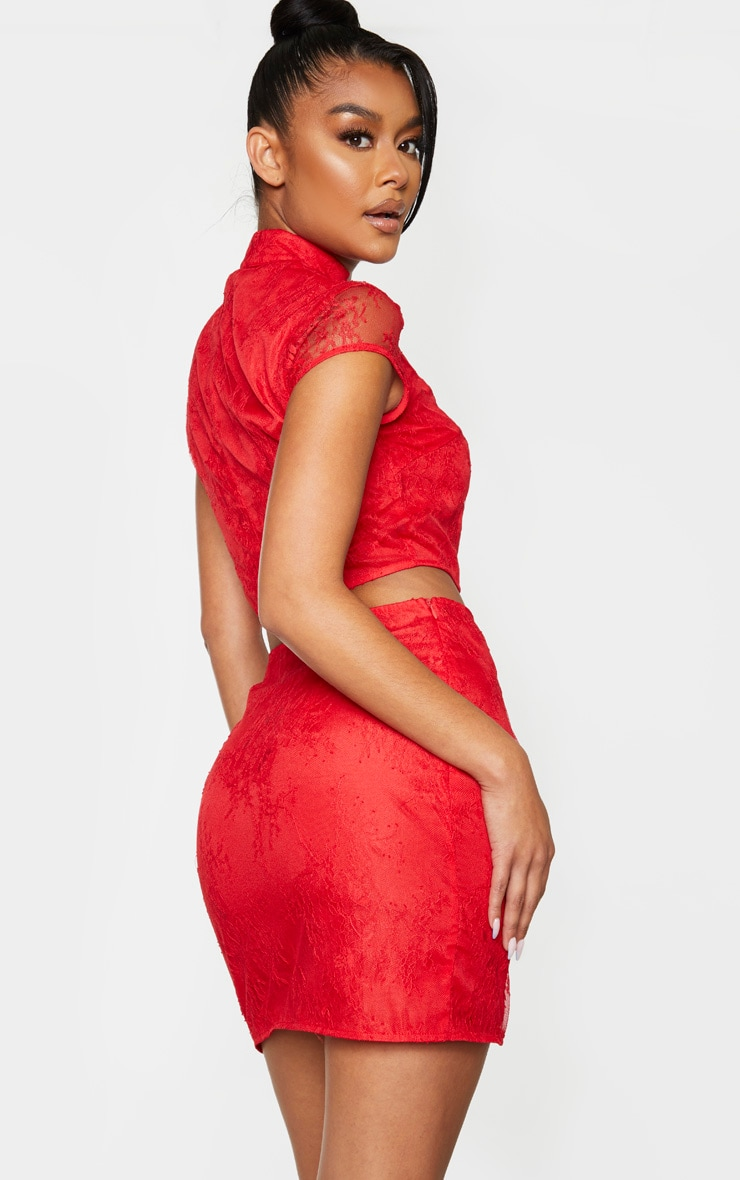 Red Lace Sheer High Neck Tie Front Crop Top 3