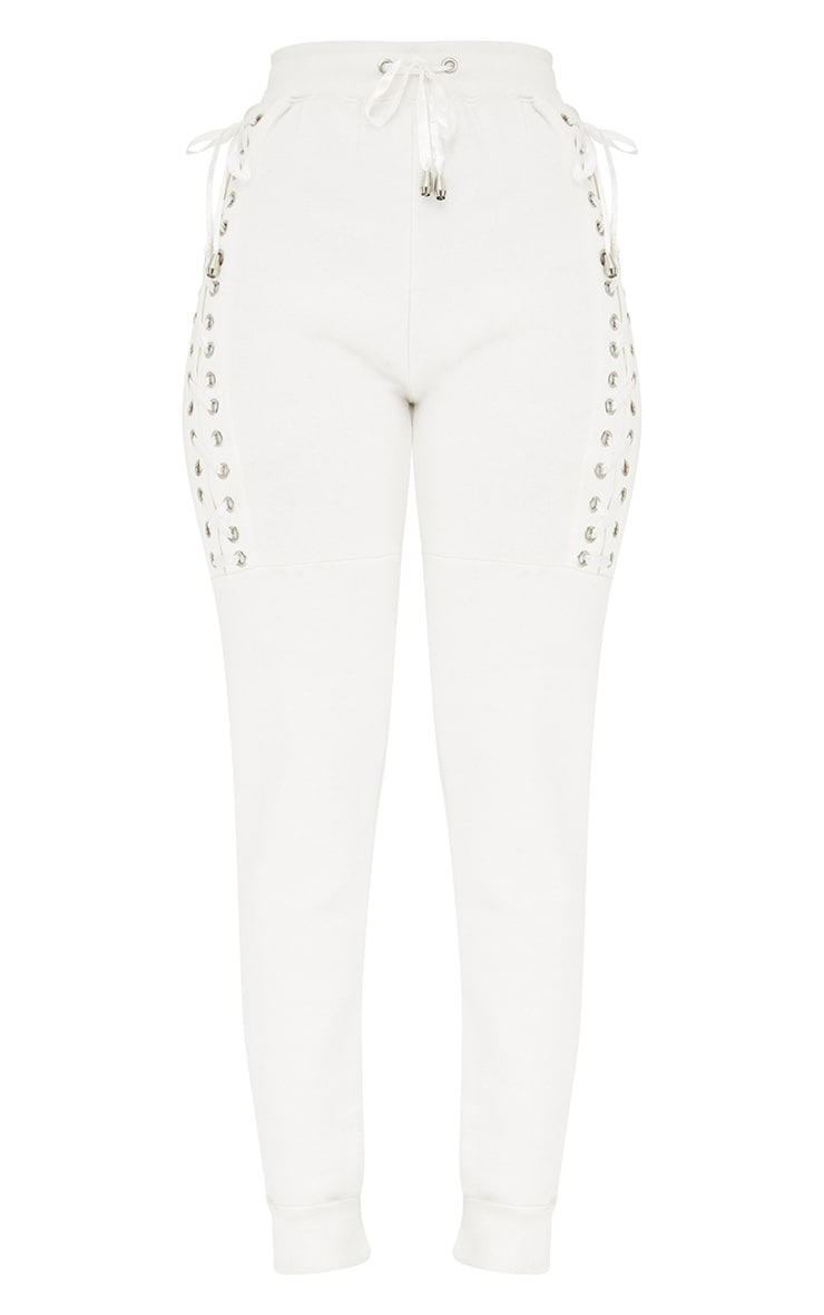 Cream Ribbon Lattice Track Pants  3