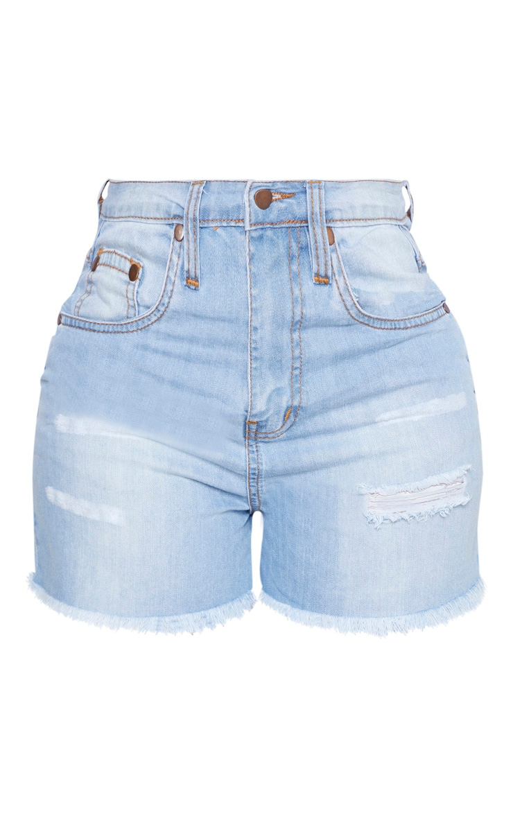 Shape Light Wash Denim High Waist Mom Shorts 3