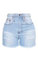 Shape Light Wash Denim High Waist Mom Shorts 3