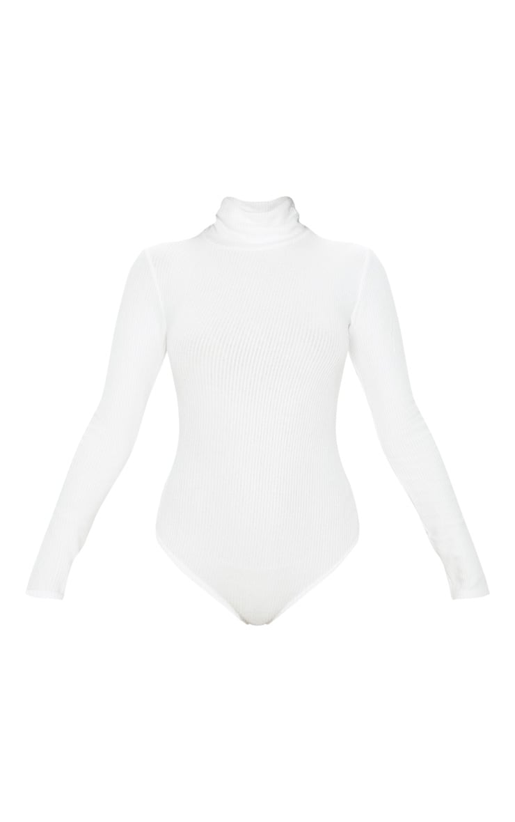 White Brushed Rib Roll Neck Long Sleeve Bodysuit 3