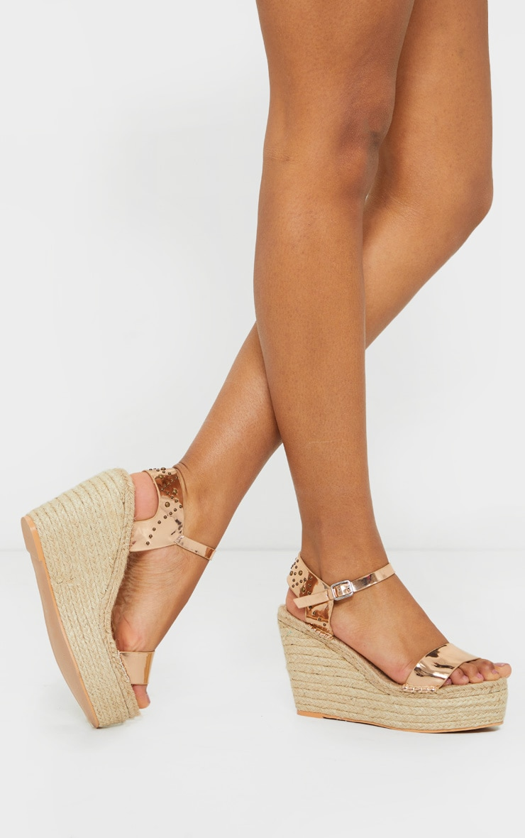 Rose Gold Espadrille Wedge Sandals 1