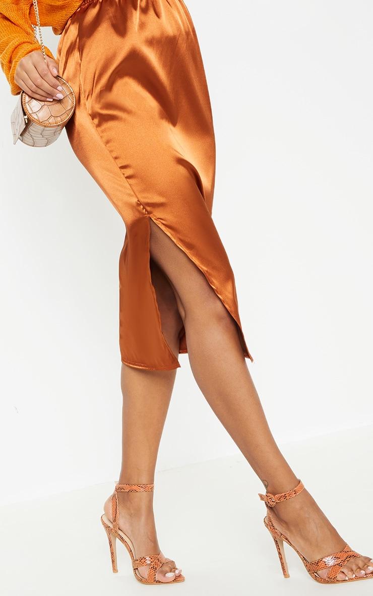 Burnt Orange Satin Side Split Midi Skirt 5