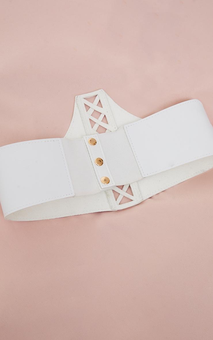 White PU Criss Cross Lace Up Corset Belt 3