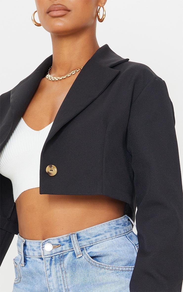 Black Woven Cropped Blazer 4