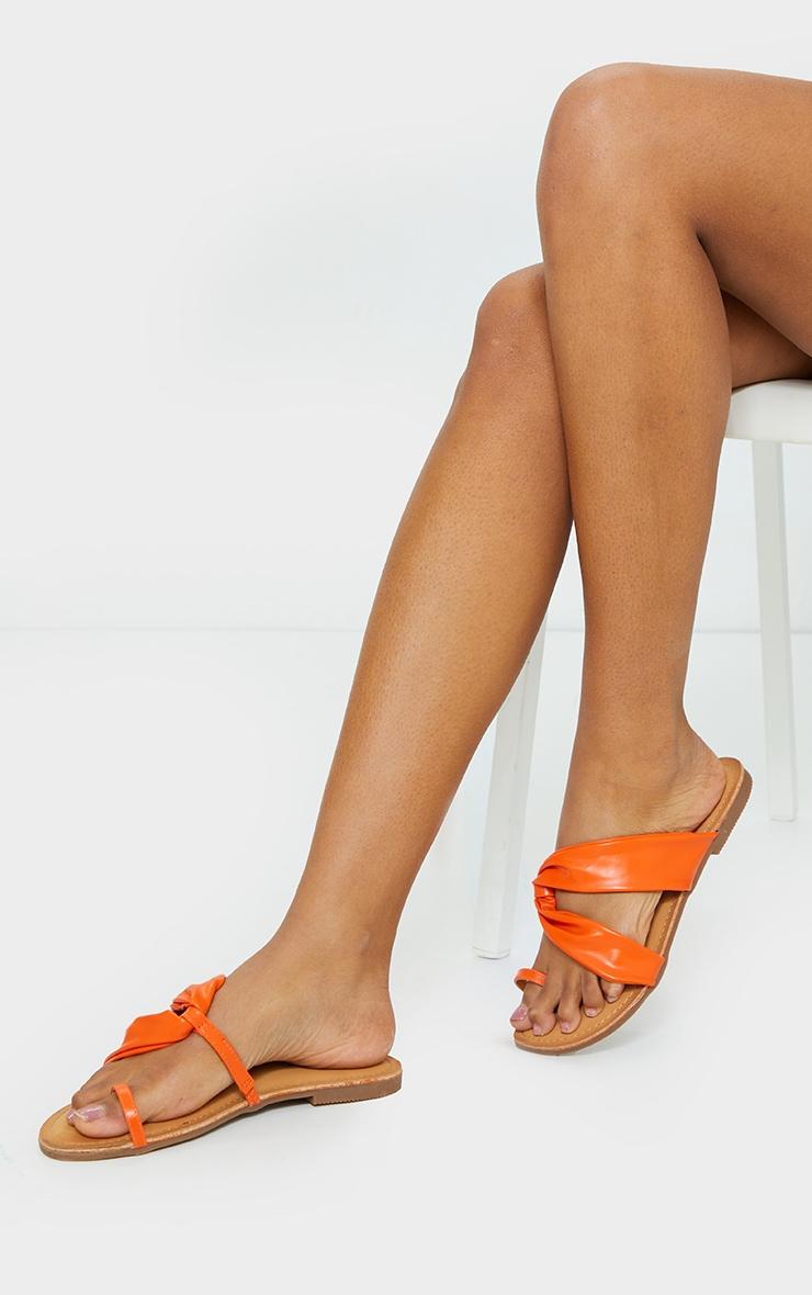Orange PU Toe Loop Pull Over Detail Flat Mule Sandals 2