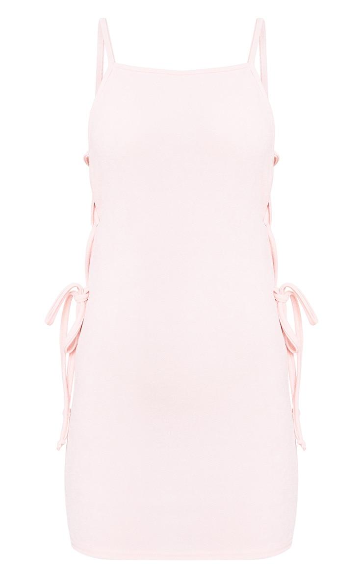 Petite Pink Lace Up Side Mini Dress 3
